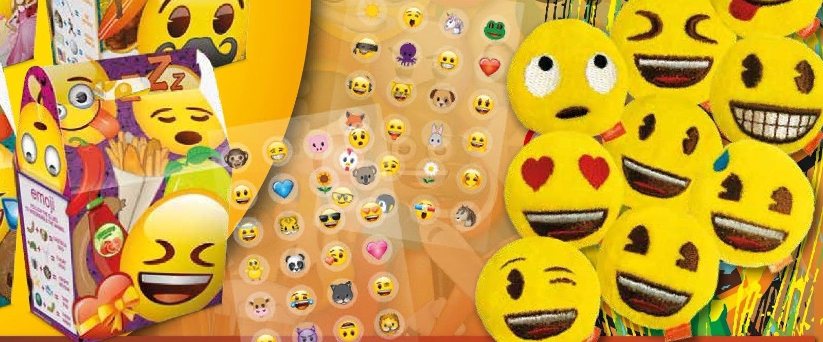 Emoji Birthday Party Bag Sets Cardboard Meal Lunch Box Includes